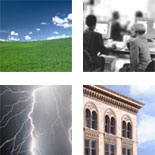 images of lightning in a night sky, a green meadow, people in an office and the corner of a brick built office building